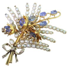 Art Deco Natural Pearl, Natural Sapphire & Rose Cut Diamond Foliate Brooch, circa 1930