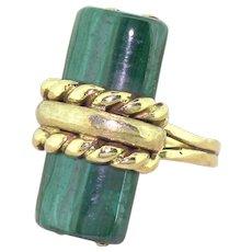 Modernist Malachite Dress Ring, circa 1960