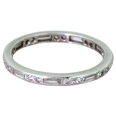 Art Deco 0.81 Carat Baguette Cut & Eight-Cut Diamond Eternity Ring, circa 1940