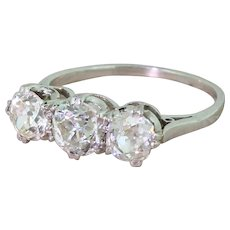 Art Deco 1.33 Carat Old Cut Diamond Trilogy Ring, circa 1925