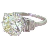 Art Deco 4.04 Carat Old Cut Diamond Engagement Ring, circa 1930