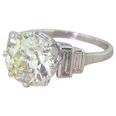 Art Deco 4.04 Carat Old Cut Diamond Engagement Ring, circa 1930