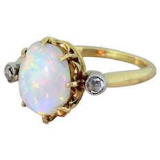 Mid Century Opal & Rose Cut Diamond Trilogy Ring, French, circa 1960