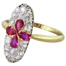 Edwardian Pear Cut Ruby & Rose Cut Diamond Cluster Ring, circa 1910