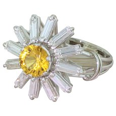 "Mid Century Yellow Sapphire & Baguette Cut Diamond ""Sunshine"" Ring, circa 1970"