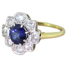 Art Deco 1.26 Carat Sapphire & Old Cut Diamond Cluster Ring, circa 1930