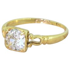 Edwardian 0.76 Carat Old Cut Diamond Solitaire Ring, dated 1902