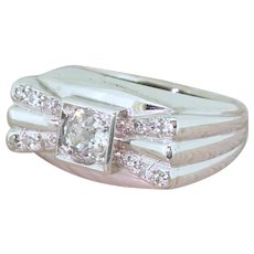 Art Deco 0.68 Carat Old Cut Diamond Cocktail Ring, circa 1940