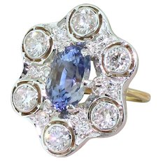 Retro 4.85 Carat Natural Ceylon Sapphire & 1.68 Carat Diamond Ring, circa 1955