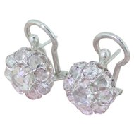 Art Deco 2.00 Carat Rose Cut Diamond Cluster Earrings, circa 1935