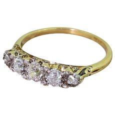 Victorian 0.66 Carat Old Cut Diamond Five Stone Ring, circa 1890