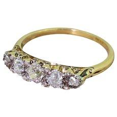 Victorian 0.66 Carat Old Cut Diamond Five Stone Ring, circa 1890
