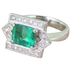 Late 20th Century 1.74 Carat Emerald & Diamond Ring, circa 1965