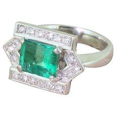 Late 20th Century 1.74 Carat Emerald & Diamond Ring, circa 1965