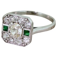 0.91 Carat Old Cut Diamond & Emerald Cluster Ring, 18k Gold