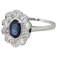 1.01 Carat Sapphire & 0.85 Carat Diamond Cluster Ring, 18k Gold