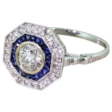0.86 Carat Old Cut Diamond & Sapphire Octagonal Cluster Ring, 18k Gold