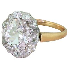 Art Deco 2.55 Carat Old Cut Diamond Cluster Ring, French, circa 1930