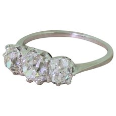 Art Deco 2.34 Carat Old Cut Diamond Trilogy Ring, circa 1940