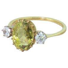 Art Deco 3.17 Carat Chrysoberyl & Old Cut Diamond Trilogy Ring, circa 1925