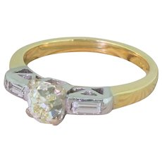 Art Deco 0.82 Carat Old Cut Diamond Engagement Ring, circa 1940