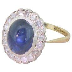 Art Deco 2.50 Carat Cabochon Sapphire & Diamond Cluster Ring, circa 1940