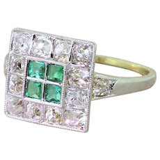 Art Deco Emerald & Old Cut Diamond Square Cluster Ring, circa 1925