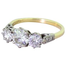 Mid Century 1.82 Carat Transitional Cut Diamond Trilogy Ring, circa 1950