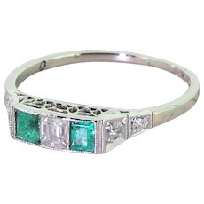 Art Deco Step Cut Diamond & Emerald Three Stone Ring, circa 1915