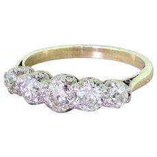 Art Deco 1.20 Carat Old European Cut Diamond Five Stone Ring, circa 1935