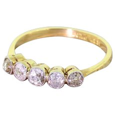 Edwardian 0.75 Carat Old Cut Diamond Five Stone Ring, circa 1910
