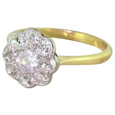 Art Deco 1.60 Carat Old Cut Diamond Daisy Cluster Ring, circa 1925