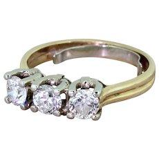 Mid Century 1.20 Carat Old European Cut Diamond Trilogy Ring, circa 1950
