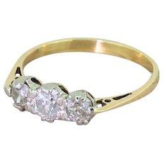 Art Deco 0.85 Carat Old Cut Diamond Trilogy Ring, circa 1930