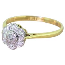 Mid Century 0.23 Carat Diamond Daisy Cluster Ring, circa 1950