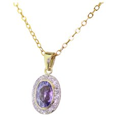 Edwardian 2.00 Carat Purple Sapphire & Old Cut Diamond Pendant, circa 1910