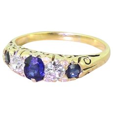 Victorian Sapphire & Old Cut Diamond Five Stone Ring, circa 1900