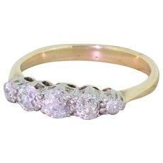 Art Deco 0.85 Carat Old Cut Diamond Five Stone Ring, circa 1920