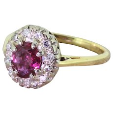 Mid Century 0.65 Carat Ruby & Diamond Cluster Ring, dated 1965