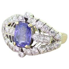 Mid Century 2.44 Carat Purple Sapphire & Diamond Cocktail Ring, circa 1960