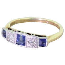 Art Deco Step-Cut Sapphire & Diamond Five Stone Ring, circa 1935