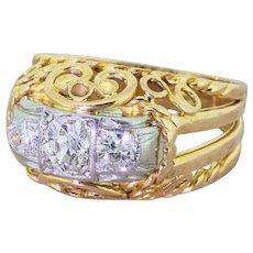 Mid Century 0.80 Carat Old Cut Diamond Ornate Trilogy Ring, circa 1960