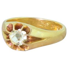 Victorian 0.45 Carat Fancy Light Yellow Old Cut Diamond Solitaire Ring, dated 1879