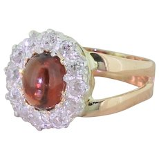 Victorian Cabochon Garnet & Old Cut Diamond Cluster Ring, circa 1900