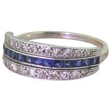 Art Deco Step Cut Sapphire & Diamond Three Row Band Ring, circa 1925