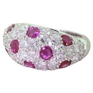 Mid Century 2.00 Carat Diamond & 1.20 Carat Ruby Bombe Ring, circa 1960