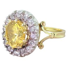 Victorian 4.69 Carat Yellow Sapphire & Old Cut Diamond Ring, circa 1900