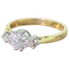 Art Deco 1.15 Carat Old Cut Diamond Trilogy Ring, circa 1935
