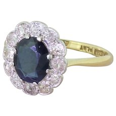 Art Deco 1.50 Carat Sapphire & Old Cut Diamond Ring, circa 1925
