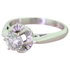Mid Century 0.72 Transitional Cut Diamond Engagement Ring, circa 1950